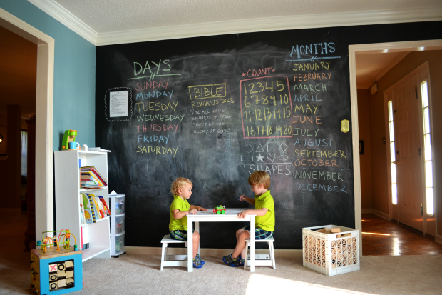 chalkboard paint ideas for children playroom 620x413 - Pared De Pizarra