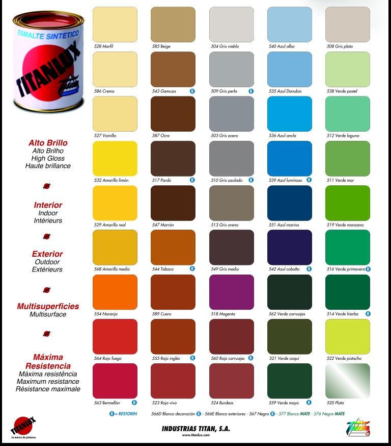 Esmalte sint tico brillante titanlux pinturas el artista for Pinturas bruguer colores