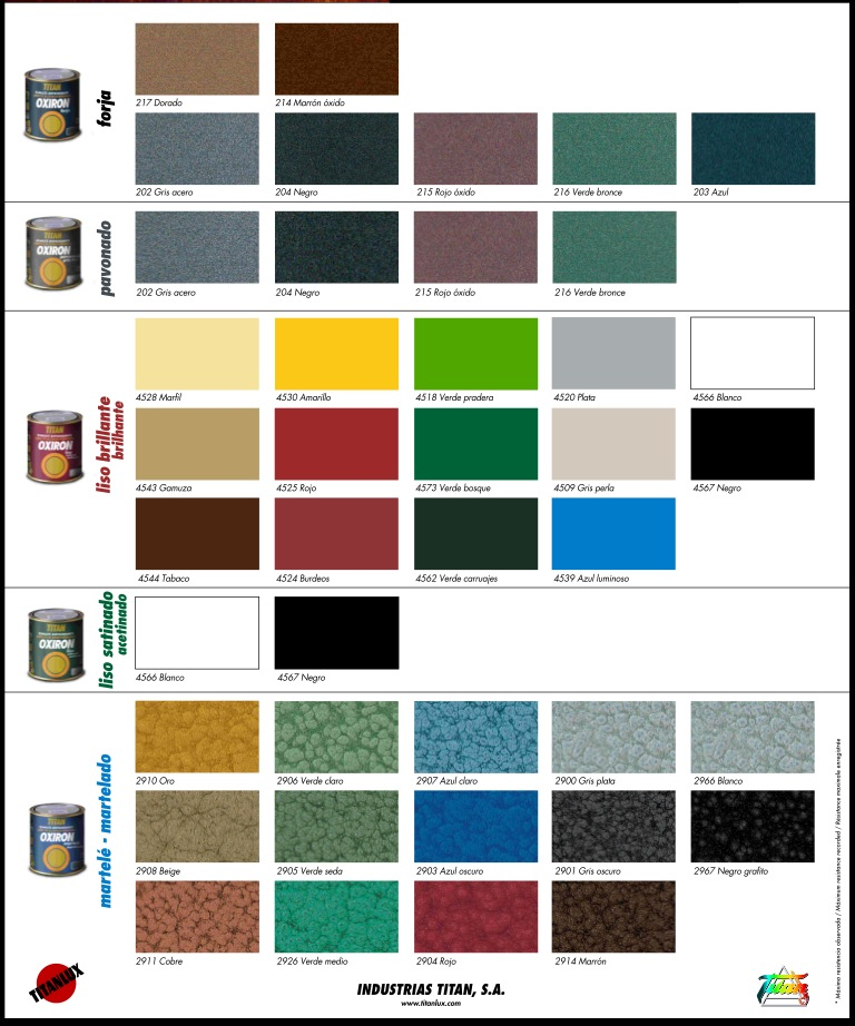 Oxiron esmalte antioxidante titan martele pinturas el - Pinturas titan precios ...