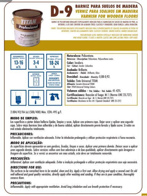 Barniz poliuretano D9 Titan profesional suelos de madera 2
