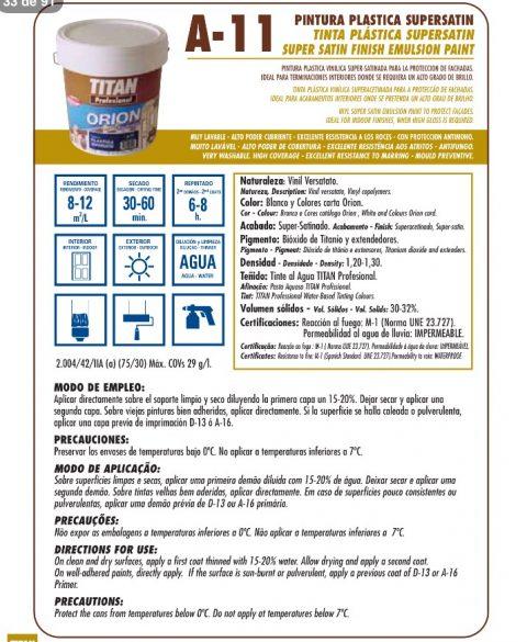 Orion fachadas plastica supersatin A11 Titan profesional 2