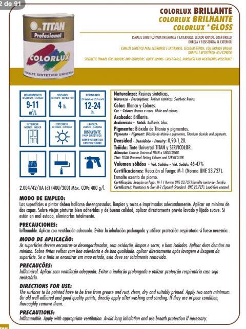 Colorlux esmalte sintético universal. Titan profesional. Brillante secado rápido 2