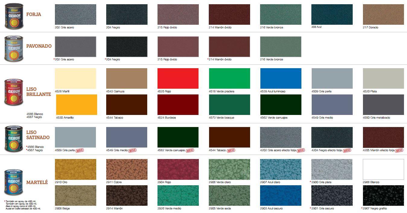 Pinturas el artista carta de colores titan oxiron for Tabla colores pintura